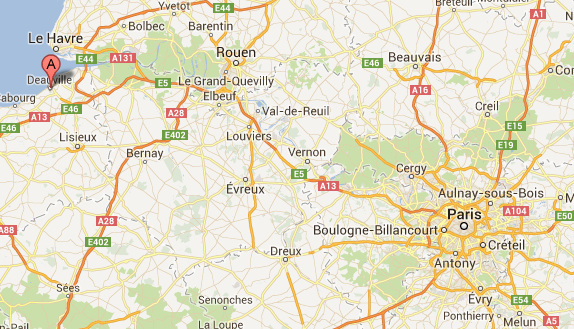 Map: from Paris to Deauville