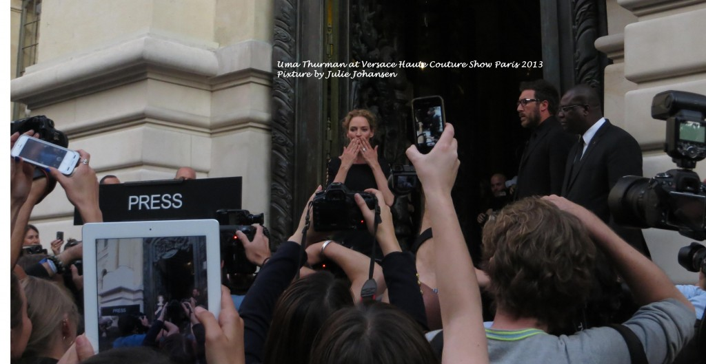Uma Thurman at Versace Haute Couture in Paris 2013