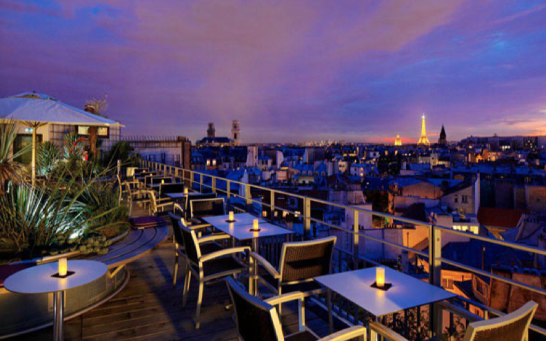 10 rooftop terraces in paris for summertime agent luxe blog. Black Bedroom Furniture Sets. Home Design Ideas