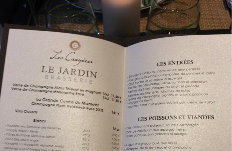 Les cray res le jardin brasserie agent luxe blog - Jardin des crayeres menu ...