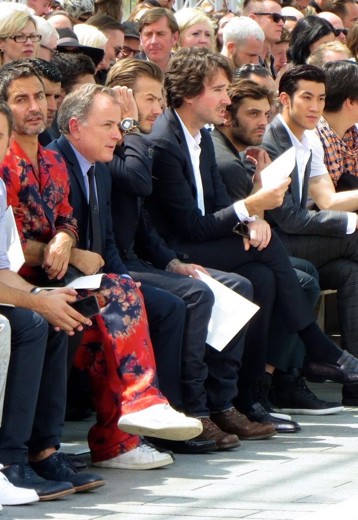 Marc Jacobs and David Beckham at Louis Vuitton Mens Wear SS14