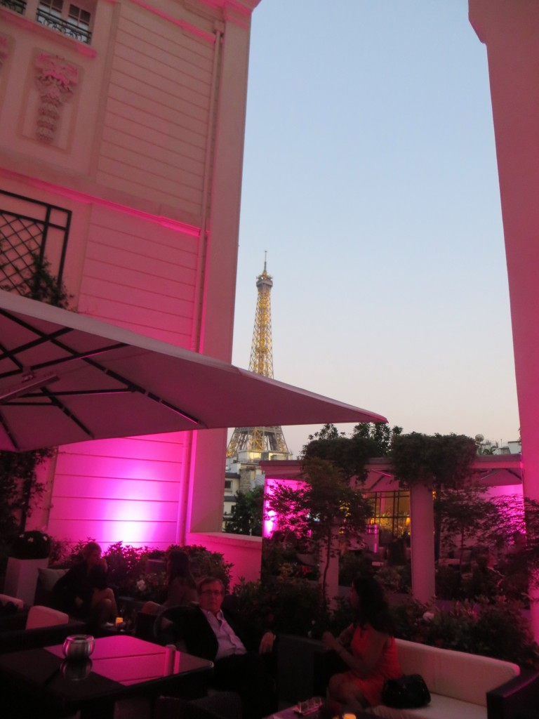 Shangri-la Hotel Terrace in Paris, view to Eiffel Tower